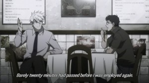 """Two men sit at a table. Subtitles read """"Barely twenty minutes had passed before I was employed again."""""""
