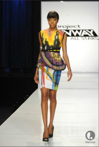 Project Runway All Star contestant Joshua's knee-length, sleeveless dress in a bold pattern.