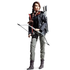 Katniss from Hunger Games Barbie doll with bow and arrows, green pants, boot and jacket