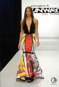 Project Runway All Star contestant Kayne's dress is like a candy store exploded inside of Bob Mackie.