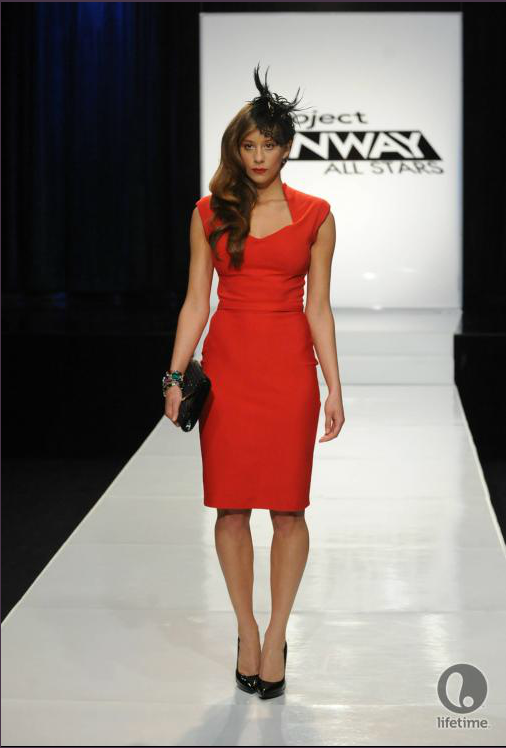 Project Runway All Stars 2x04 designer Kayne's model is wearing a knee-length, sleeveless shift dress with a feathered hat.