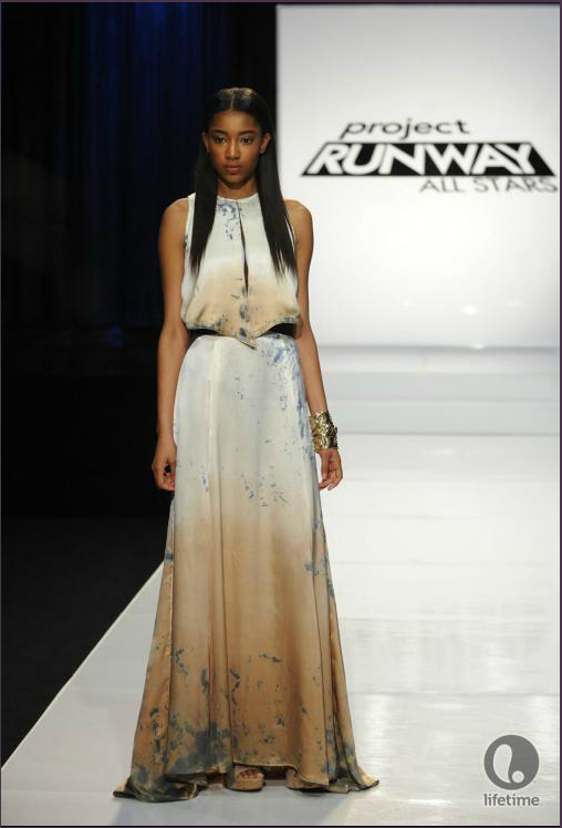 Project Runway All Stars 2x04 designer Laura Kathleen's model is wearing a Grecian-inspired, ankle length, casual dress with an ombre pattern.