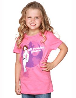 pink t with a cartoon of Princess Leia and Self Rescuing Princess written in white