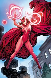 The Scarlet Witch, with red tights, leotard, headpiece, and cape
