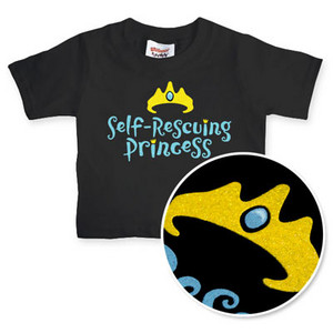 "black t-shirt with ""self-rescuing princess"" in blue and a gold crown with a blue gem"