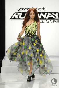 Project Runway All Star contestant Suede's paillette-covered, ankle-length, yellow, black and green, one-shouldered dress.