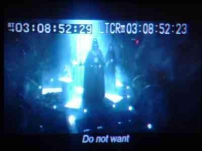 "A screenshot of a bootlegged copy of Star Wars: Revenge of the Sith. Instead of ""Nooo!"" the subtitle reads ""Do Not Want."""
