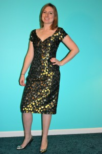 Me wearing a custom fitted dress from eShakti