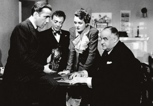 Screencap from the film of the cast with the Falcon
