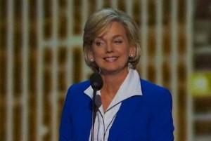 Jennifer Granholm delivering her speech at the 2012 DNC