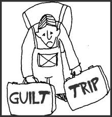 Line drawing of a man burdened with a pack on his back and carrying two large suitcases labeled Guilt and Trip