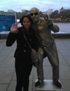 A london street artist posing with the author
