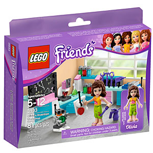 purple box of Legos with girls across the top, photo of the set inside which is a science/invention lab