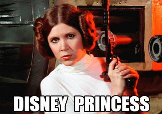 "A screnshot of Princess Leia from Star Wars, gun in hand, with the text ""Disney Princess"""