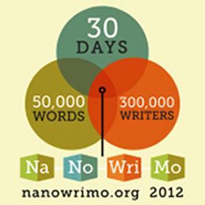 NaNoWriMo 2012 Venn diagram - 30 days, 50,000 words, 300,000 writers