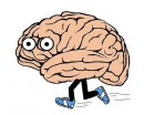 Cartoon of a brain with running legs