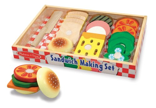 wooden toy sandwich making set in a box with buns, cheese, lettuce, tomatoes and meats