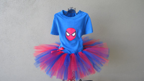 blue t-shirt with Spiderman on it attached to a blue and red tutu