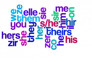 Word art of gender pronouns including lesser-known ones such as zie and hir