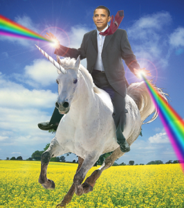 Barack Obama, riding a unicorn through a field of flowers, shooting rainbows out of both hands.