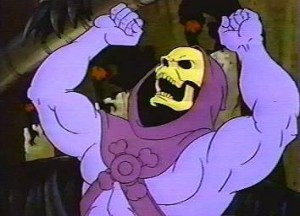 Skeletor from He-Man with arms raised in anger