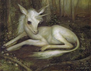 baby unicorn painting, small and fragile looking in a forest laying on the dirt ground