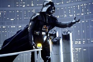 Scene from The Empire Strikes Back where Darth Vader reveals that he is Luke's father and urges Luke to join him.