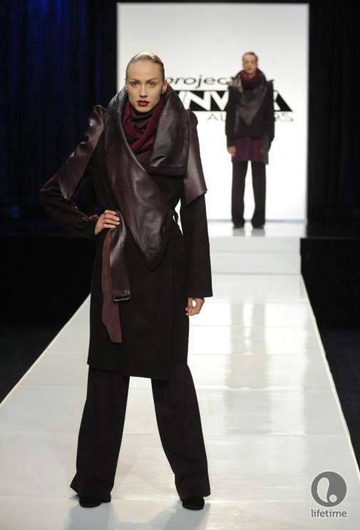 Project Runway All Stars 2x05 contestant Althea's avant-garde androgynous outfit on her female model.