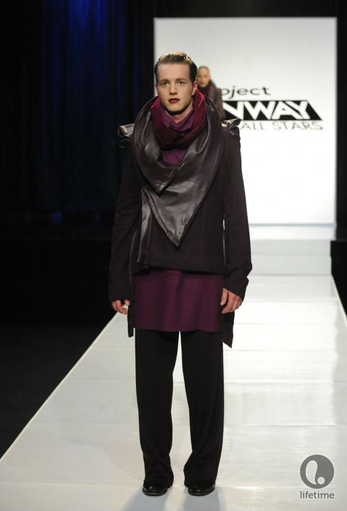 Project Runway All Stars 2x05 contestant Althea's avant-garde androgynous outfit on her male model.