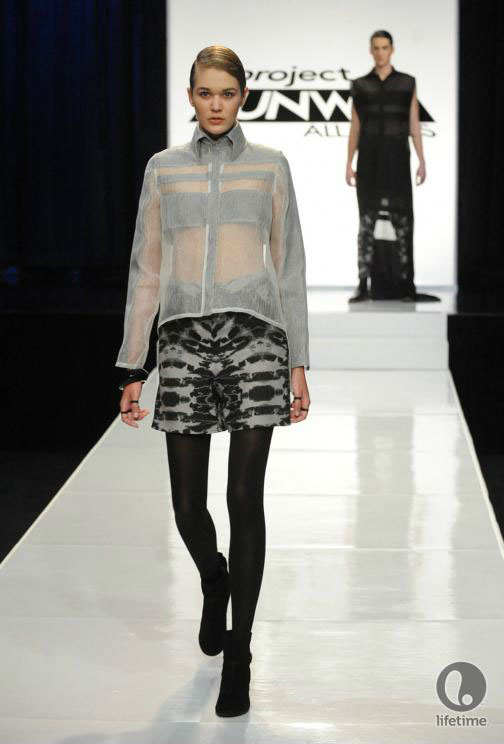 Project Runway All Stars 2x05 contestant Anthony Ryan's avant-garde androgynous outfit on his female model.
