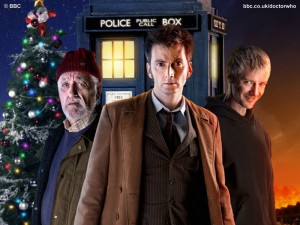 Doctor Who: The End of Time (promo photo with Ten, Wilf, and the Master in front of the Tardis and a Christmas tree)