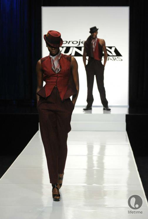 Project Runway All Stars 2x05 contestant Emilio's avant-garde androgynous outfit on his female model.