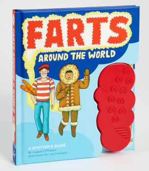 "Book titled ""Farts Around the World"" with cartoon pic of a dude dressed like Waldo and another in a fur coat with a red Fart Machine attached"