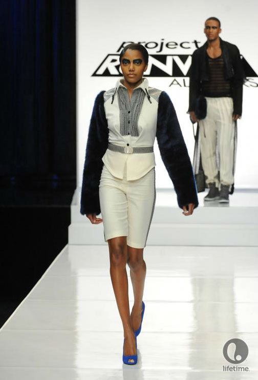 Project Runway All Stars 2x05 contestant Joshua's avant-garde androgynous outfit on his female model.