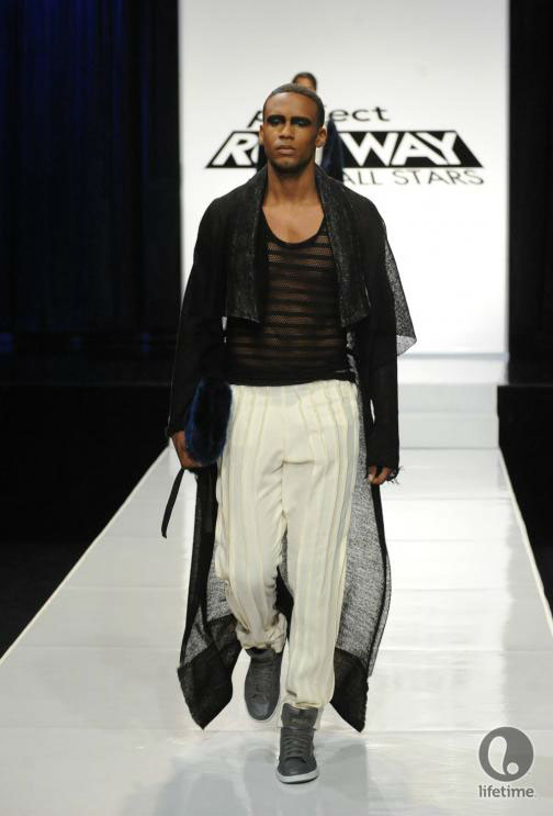 Project Runway All Stars 2x05 contestant Joshua's avant-garde androgynous outfit on his male model.