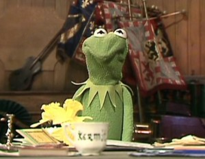"""Kermit with an """"Are you kidding me?"""" frown"""
