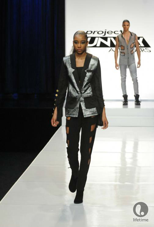 Project Runway All Stars 2x05 contestant Laura Kathleen's avant-garde androgynous outfit on her female model.