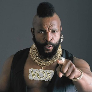 """Mr. T, pointing at the camera, looking as if he's just said """"I pity the fool!"""""""