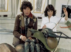 Doctor Who: The Ark In Space. The Fourth Doctor and Sarah Jane with a giant rubber bug.