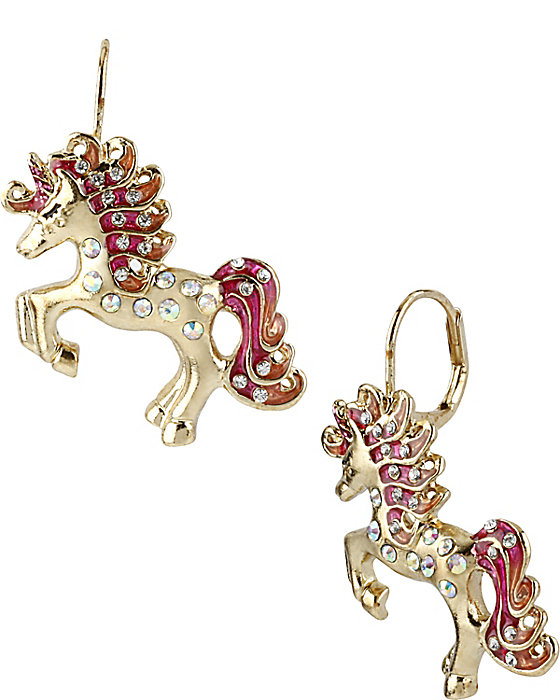 gold unicorn drop earrings with pink rhinestones