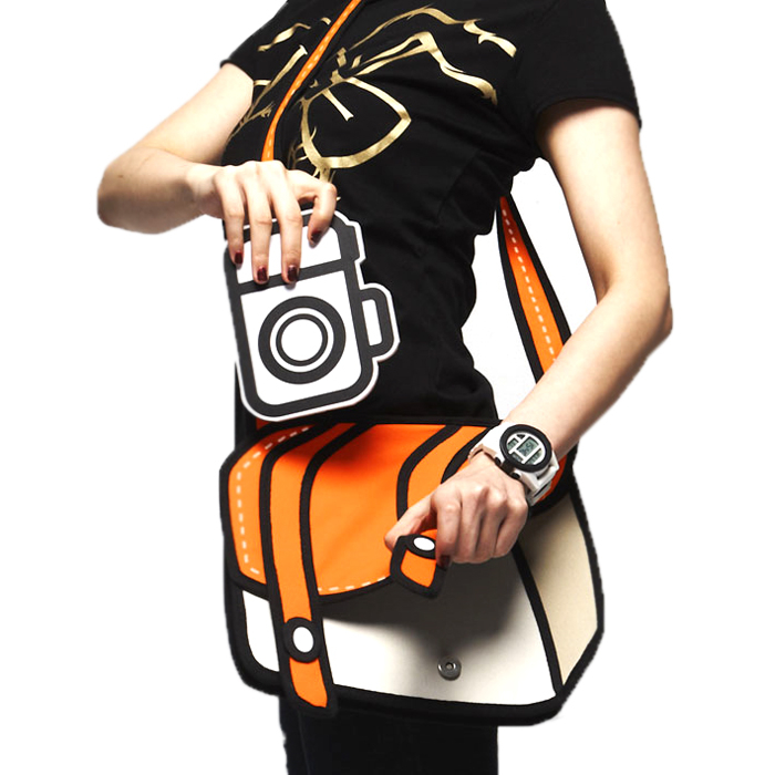 woman holding a bag that looks like a cartoon drawing in orange and white