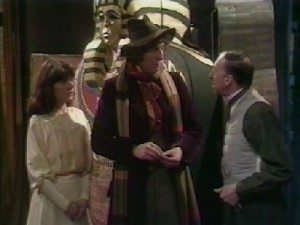 Doctor Who: Pyramids of Mars. The Fourth Doctor, Sarah Jane Smith, and Harry Sullivan