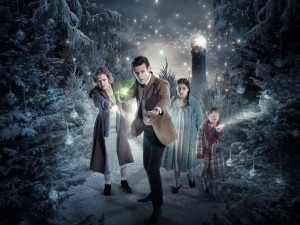 Doctor Who: The Doctor, The Widow, and the Wardrobe (promo photo of Eleven, the widow, and her children in a snowy world)