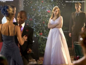 Doctor Who: The Runaway Bride (Donna at wedding reception looking pissed as others dance)