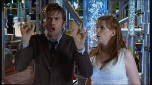 Doctor Who: The Runaway Bride (Ten and Donna in her wedding dress on the Tardis)