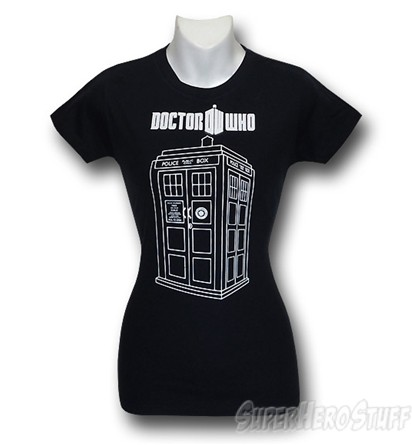 black Dr. Who woman's tee with a white Tardis on it