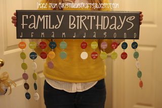 person holding a board titled Family Birthdays, with first letter of each month across the bottom and little circles hanging below denoting those months birthdays