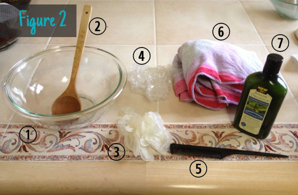 Figure 2: Henna tools (glass mixing bowl, wooden spoon, gloves, shower cap, comb, towel, conditioner)