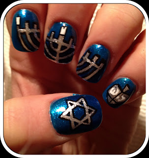 Hanukkah Snowflakes Nails By Maryam Maquillage Painted With Sparkly Blue Polish The Thumbnail Has A Silver Star Of David