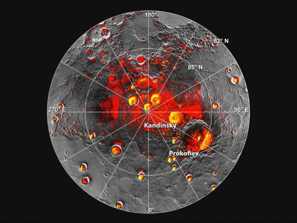 Image of the north pole of Mercury, with parts of the craters and polar region shaded in red or yellow to indicate areas of constant darkness